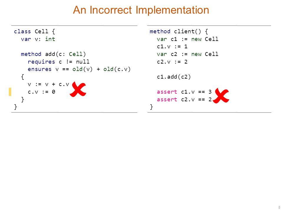 9 Strengthening Specifications class Cell { var v: int method add(c: Cell) requires c != null ensures v == old(v) + old(c.v) ensures c.v == old(c.v) { v := v + c.v c.v := 0 } method client() { var c1 := new Cell c1.v := 1 var c2 := new Cell c2.v := 2 c1.add(c2) assert c1.v == 3 assert c2.v == 2 } 