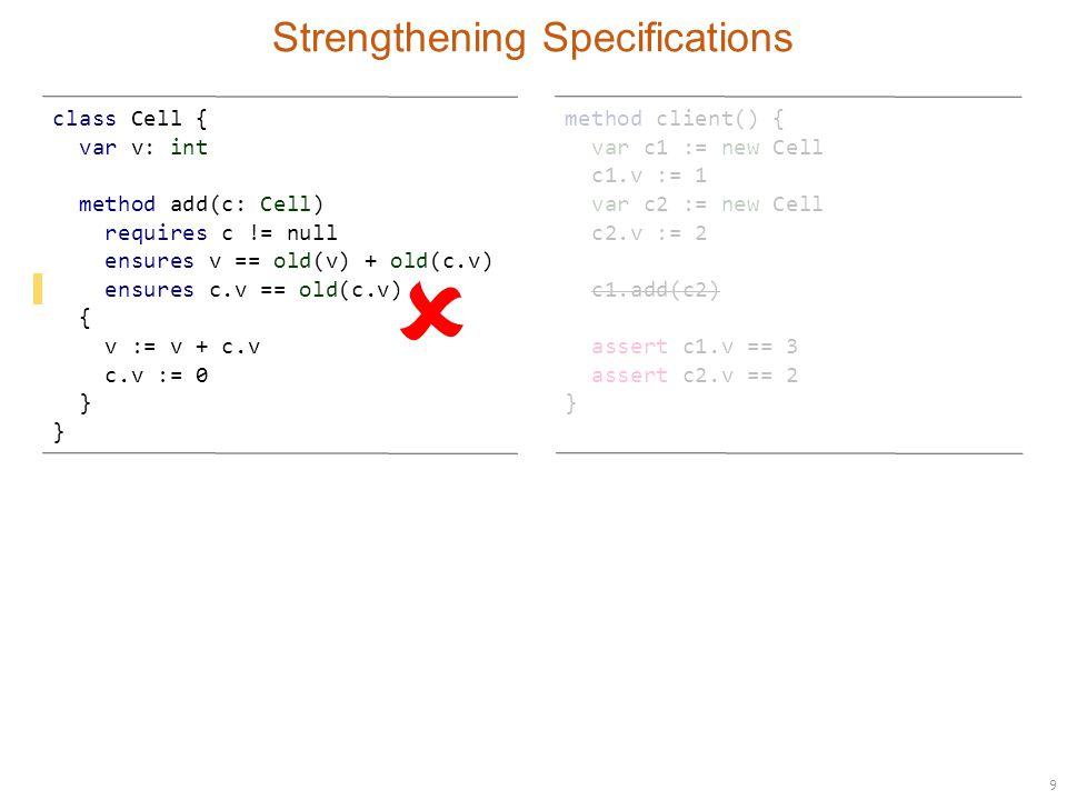 10 Strengthening Specifications method client() { var c1 := new Cell c1.v := 1 var c2 := new Cell c2.v := 2 c1.add(c2) assert c1.v == 3 assert c2.v == 2 } class Cell { var v: int method add(c: Cell) requires c != null ensures v == old(v) + old(c.v) ensures c.v == old(c.v) { v := v + c.v } } ?