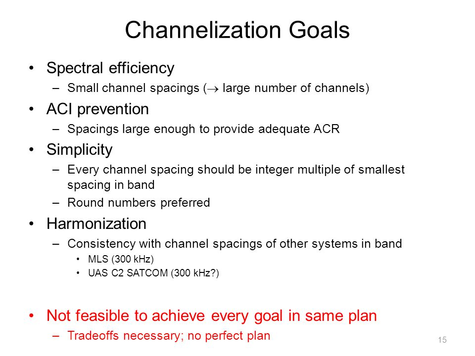 Channelization Goals Spectral efficiency –Small channel spacings (  large number of channels) ACI prevention –Spacings large enough to provide adequate ACR Simplicity –Every channel spacing should be integer multiple of smallest spacing in band –Round numbers preferred Harmonization –Consistency with channel spacings of other systems in band MLS (300 kHz) UAS C2 SATCOM (300 kHz?) Not feasible to achieve every goal in same plan –Tradeoffs necessary; no perfect plan 15