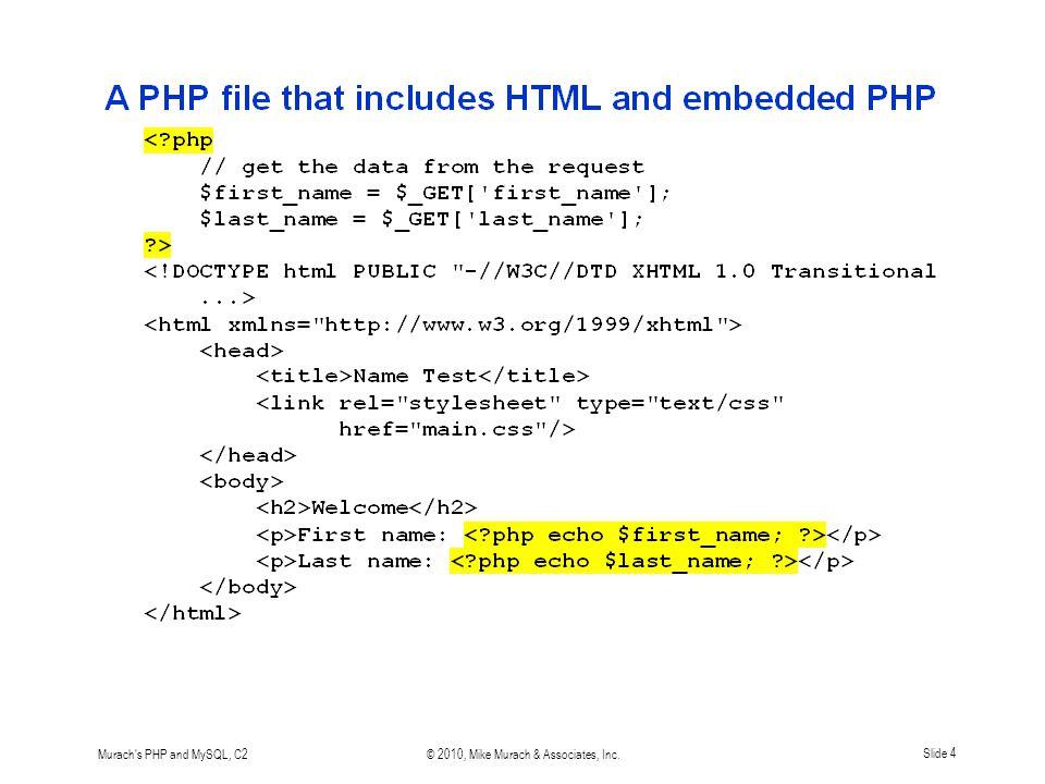 Murach's PHP and MySQL, C2© 2010, Mike Murach & Associates, Inc.Slide 4