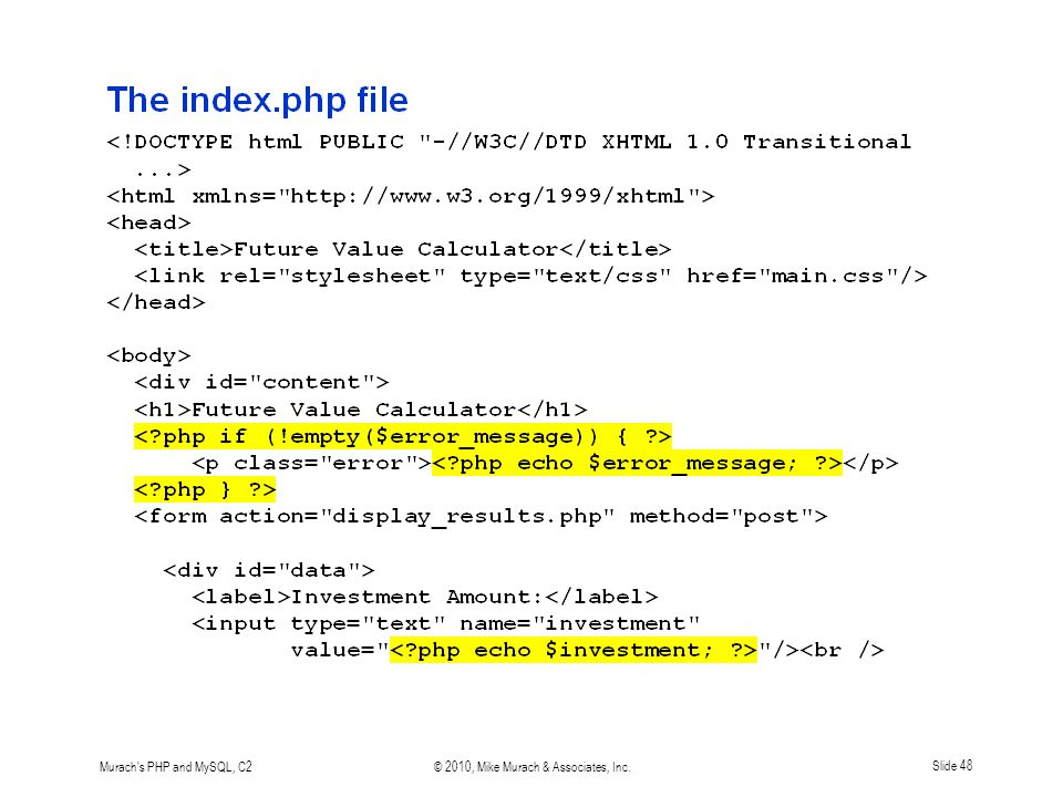 Murach's PHP and MySQL, C2© 2010, Mike Murach & Associates, Inc.Slide 48