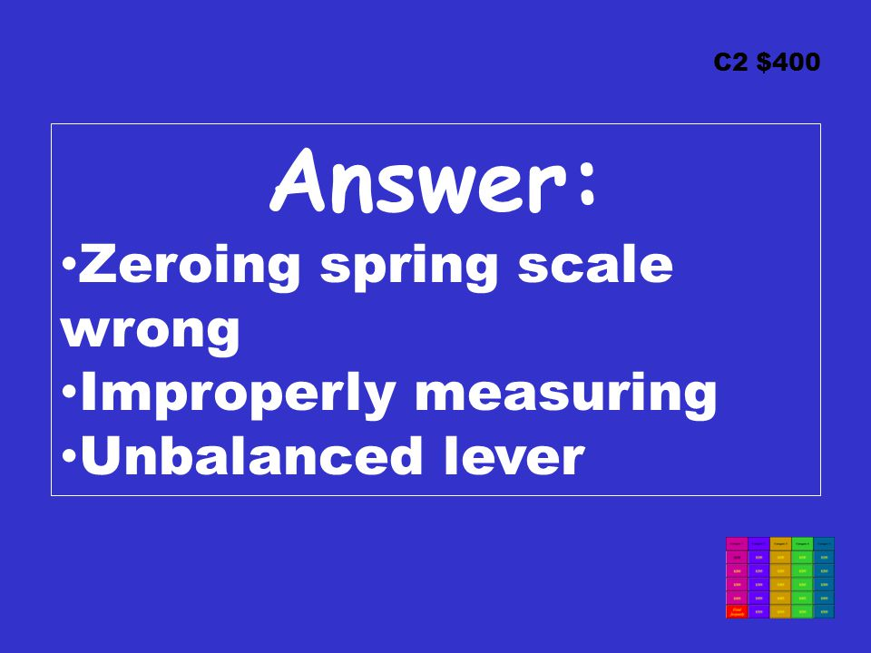 C2 $400 Answer: Zeroing spring scale wrong Improperly measuring Unbalanced lever