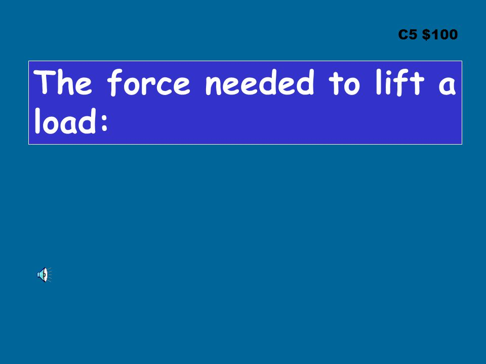 C5 $100 The force needed to lift a load: