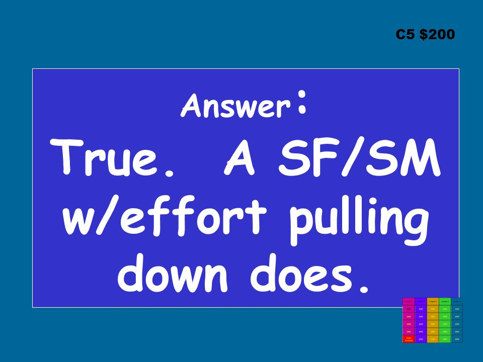 C5 $200 Answer : True. A SF/SM w/effort pulling down does.