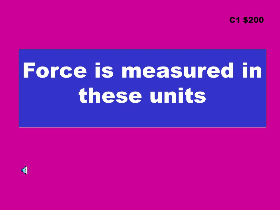 Force is measured in these units C1 $200