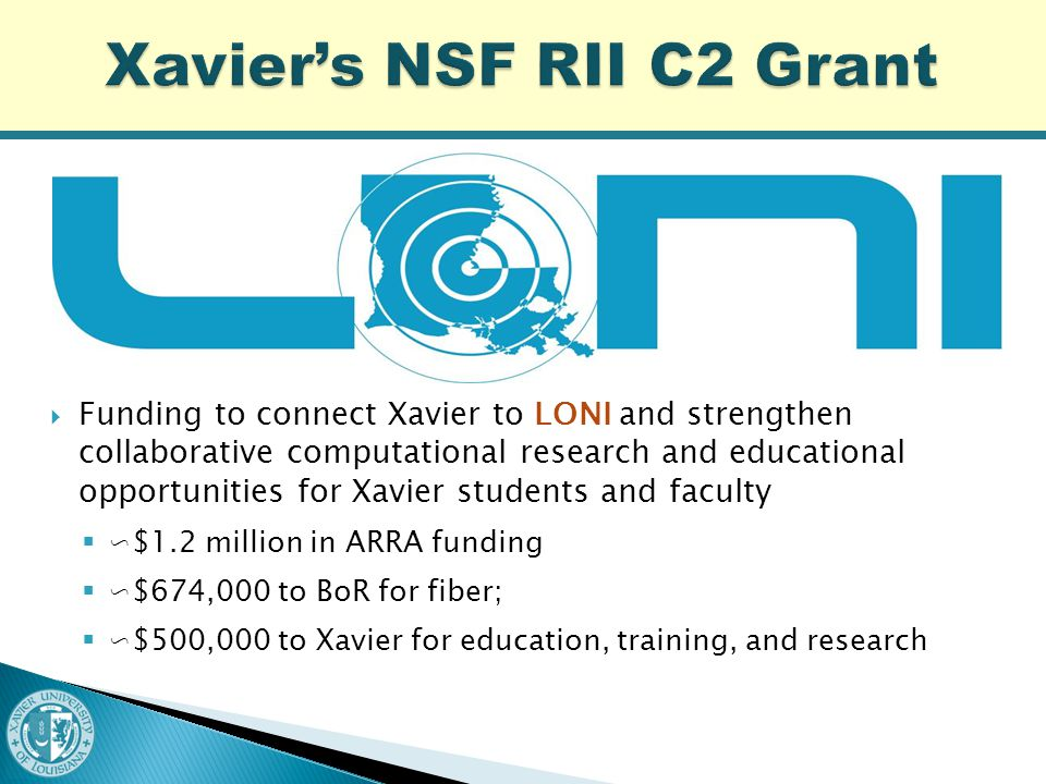  Funding to connect Xavier to LONI and strengthen collaborative computational research and educational opportunities for Xavier students and faculty  ∽$1.2 million in ARRA funding  ∽$674,000 to BoR for fiber;  ∽$500,000 to Xavier for education, training, and research