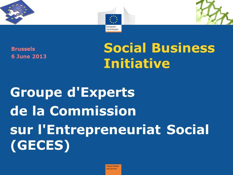 Social Business Initiative Groupe d'Experts de la Commission sur l'Entrepreneuriat Social (GECES) Brussels 6 June 2013