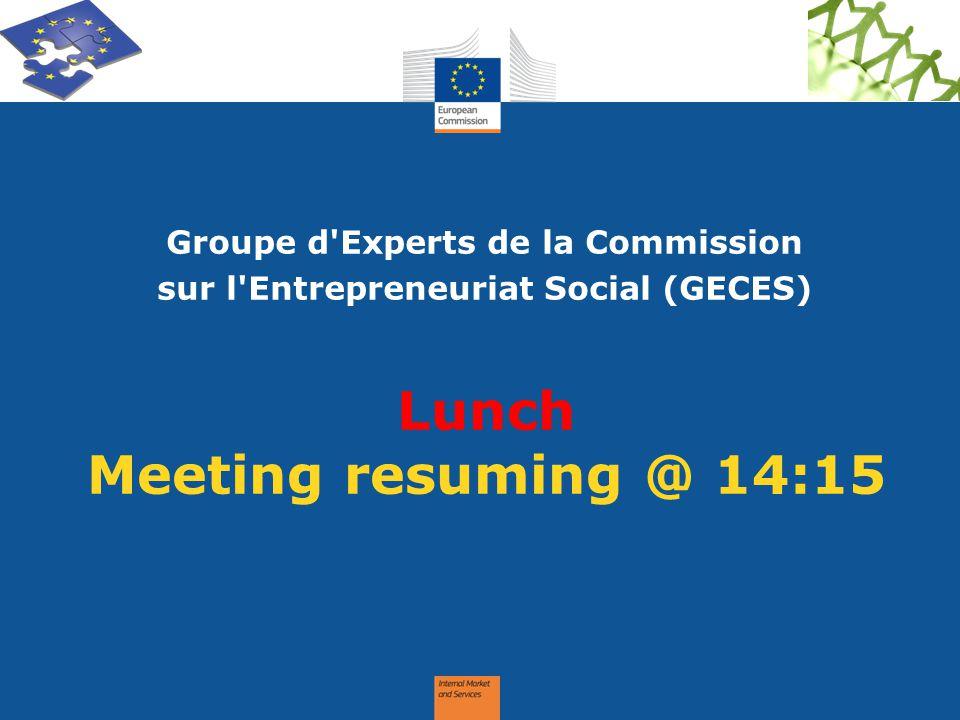 Lunch Meeting resuming @ 14:15 Groupe d'Experts de la Commission sur l'Entrepreneuriat Social (GECES)
