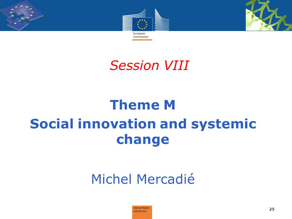 Session VIII Theme M Social innovation and systemic change Michel Mercadié 25