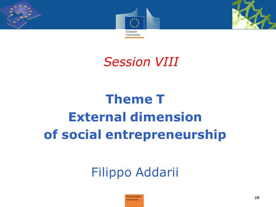 Session VIII Theme T External dimension of social entrepreneurship Filippo Addarii 28