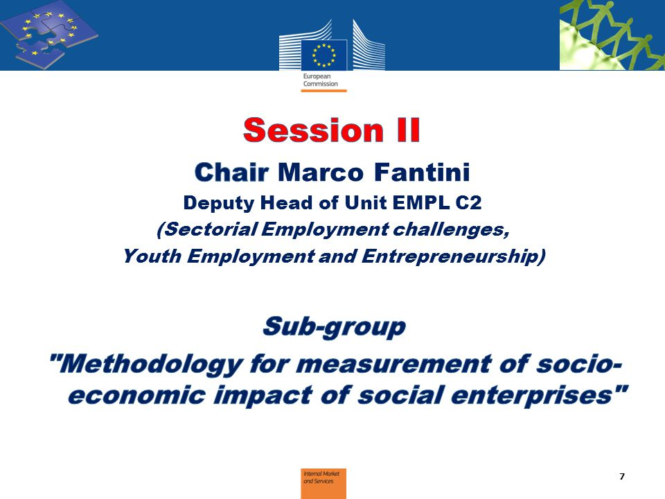 Session II Presentation of the work of the sub-group Sub-group rapporteur 8