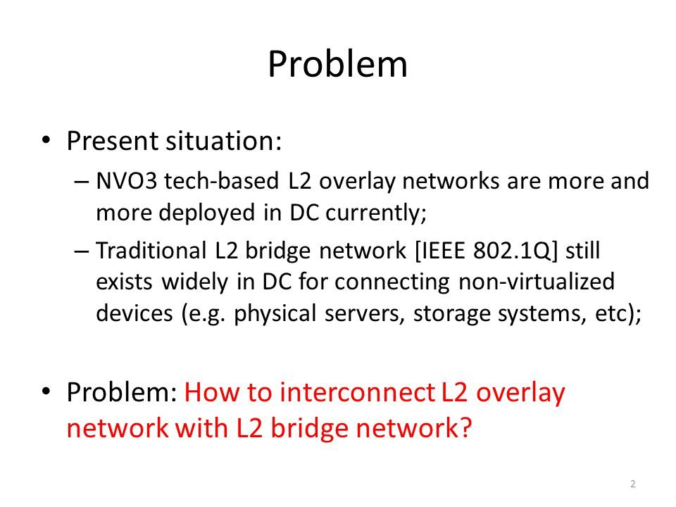 Problem Present situation: – NVO3 tech-based L2 overlay networks are more and more deployed in DC currently; – Traditional L2 bridge network [IEEE 802