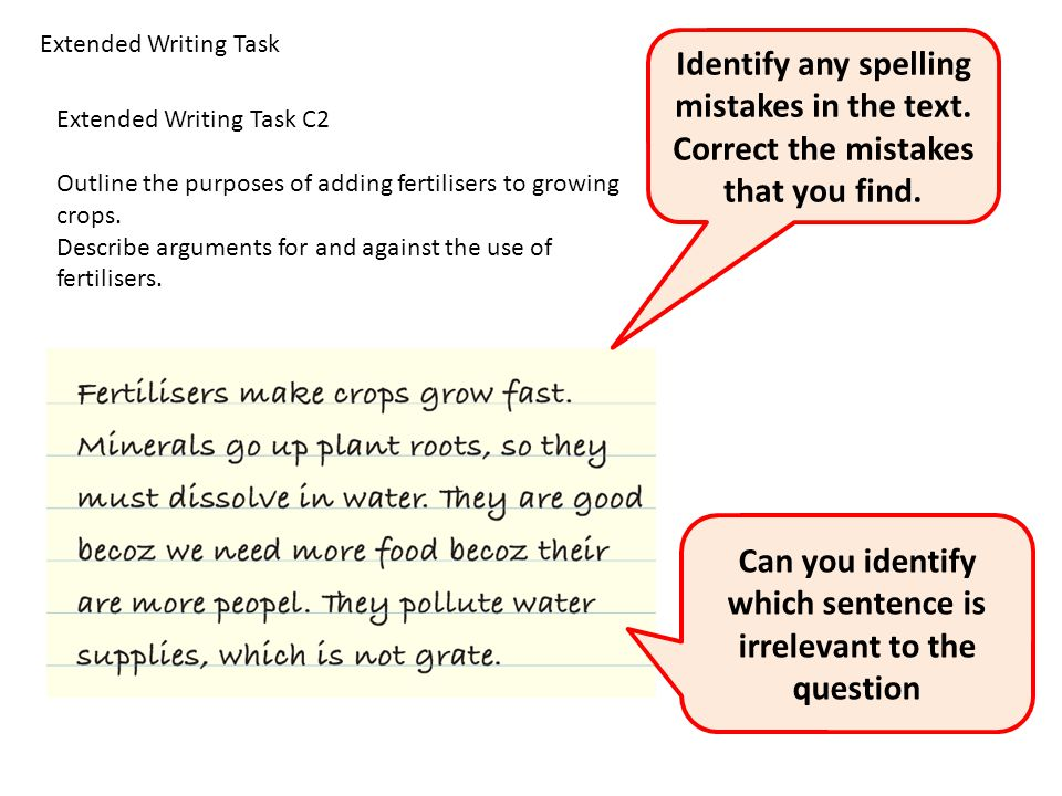 Extended Writing Task C2 Outline the purposes of adding fertilisers to growing crops.