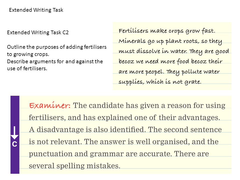 Extended Writing Task C2 Outline the purposes of adding fertilisers to growing crops. Describe arguments for and against the use of fertilisers. Exten