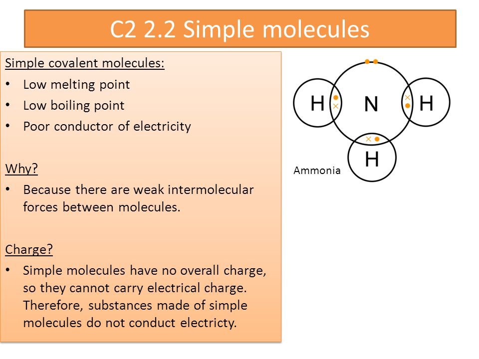 C2 2.2 Simple molecules Simple covalent molecules: Low melting point Low boiling point Poor conductor of electricity Why.
