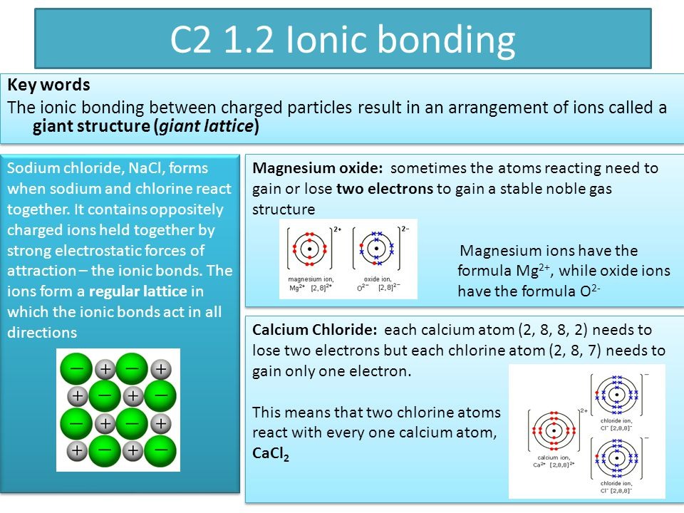 Magnesium oxide: sometimes the atoms reacting need to gain or lose two electrons to gain a stable noble gas structure Magnesium ions have the formula Mg 2+, while oxide ions have the formula O 2- Magnesium oxide: sometimes the atoms reacting need to gain or lose two electrons to gain a stable noble gas structure Magnesium ions have the formula Mg 2+, while oxide ions have the formula O 2- Sodium chloride, NaCl, forms when sodium and chlorine react together.