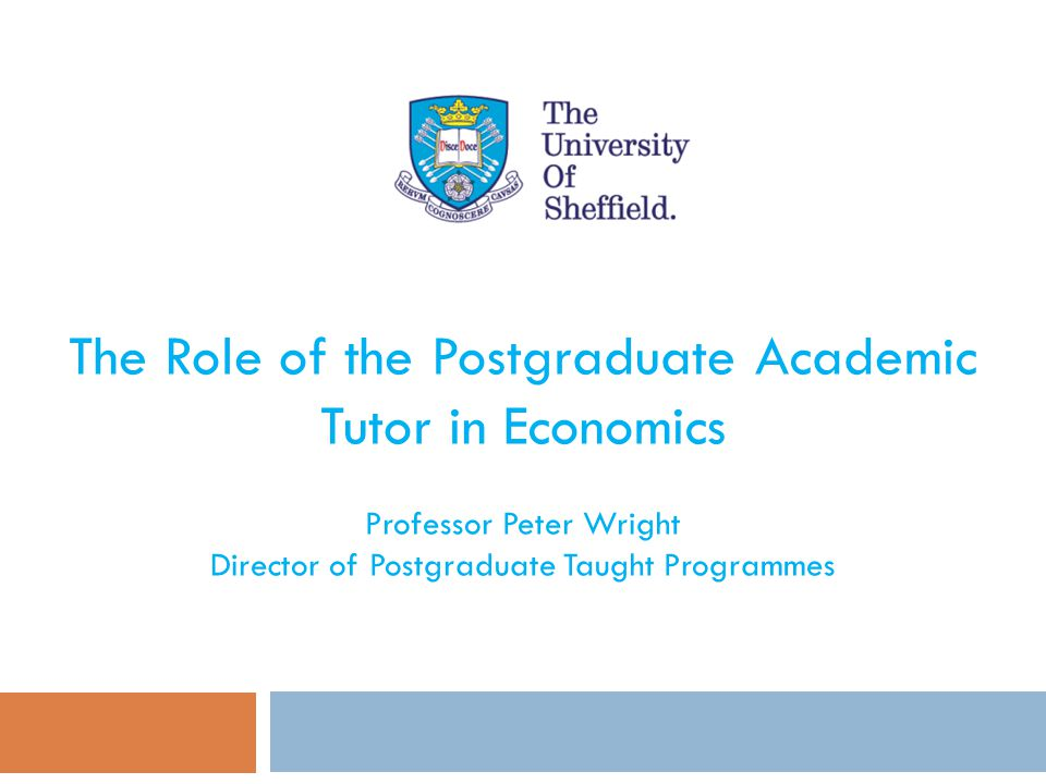 The Role of the Postgraduate Academic Tutor in Economics Professor Peter Wright Director of Postgraduate Taught Programmes