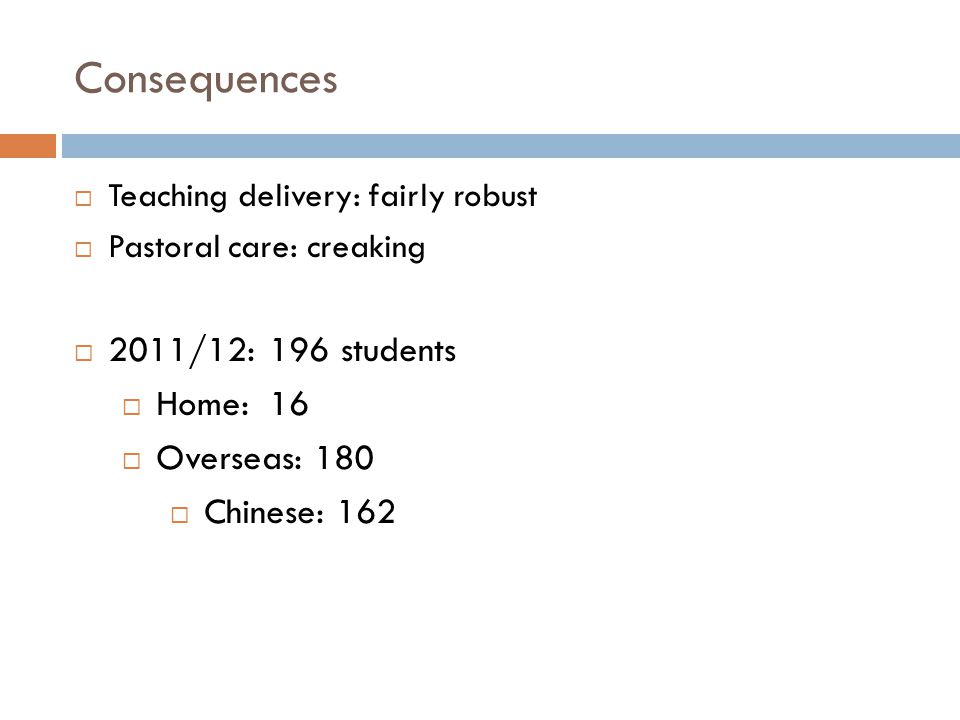 Consequences  Teaching delivery: fairly robust  Pastoral care: creaking  2011/12: 196 students  Home: 16  Overseas: 180  Chinese: 162