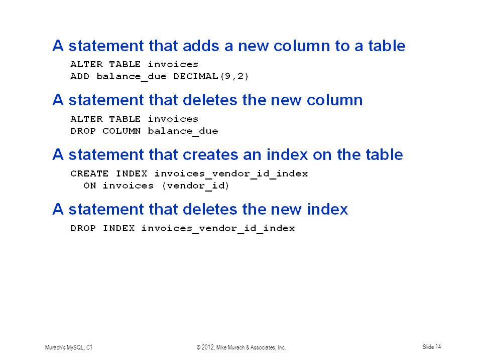 Murach s MySQL, C1© 2012, Mike Murach & Associates, Inc.Slide 14