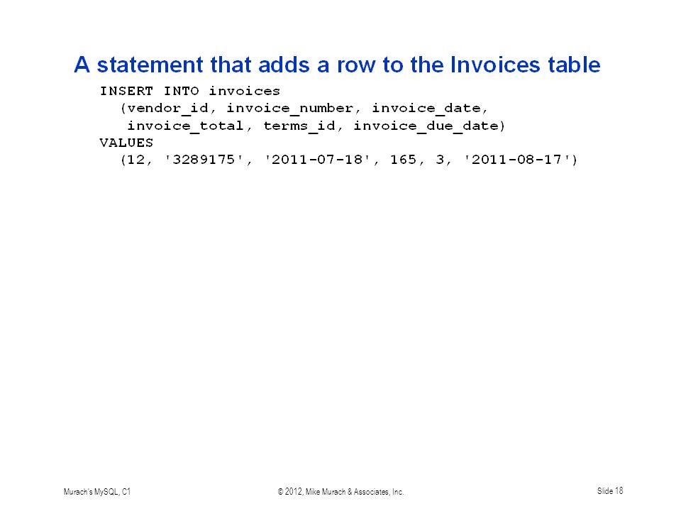 Murach s MySQL, C1© 2012, Mike Murach & Associates, Inc.Slide 18