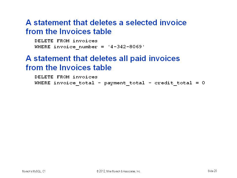 Murach s MySQL, C1© 2012, Mike Murach & Associates, Inc.Slide 20
