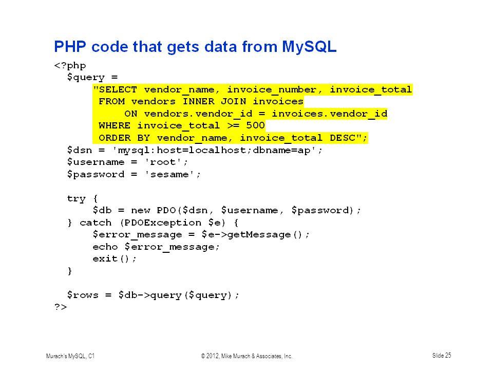 Murach s MySQL, C1© 2012, Mike Murach & Associates, Inc.Slide 25
