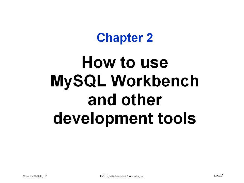 Murach s MySQL, C2© 2012, Mike Murach & Associates, Inc.Slide 30