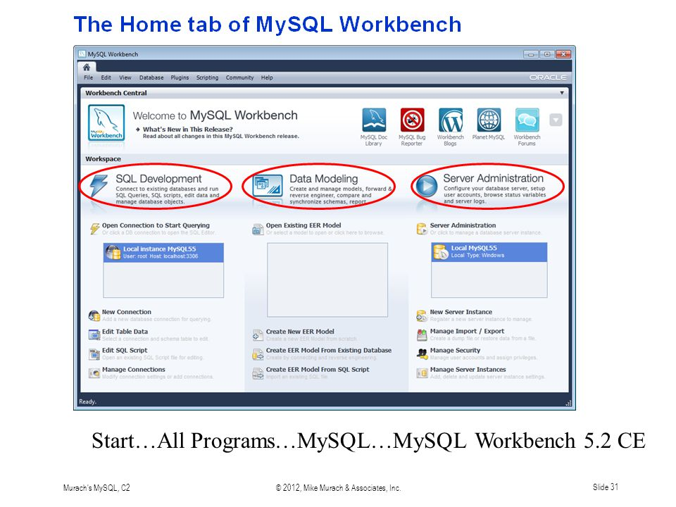 Murach s MySQL, C2© 2012, Mike Murach & Associates, Inc.Slide 31 Start…All Programs…MySQL…MySQL Workbench 5.2 CE
