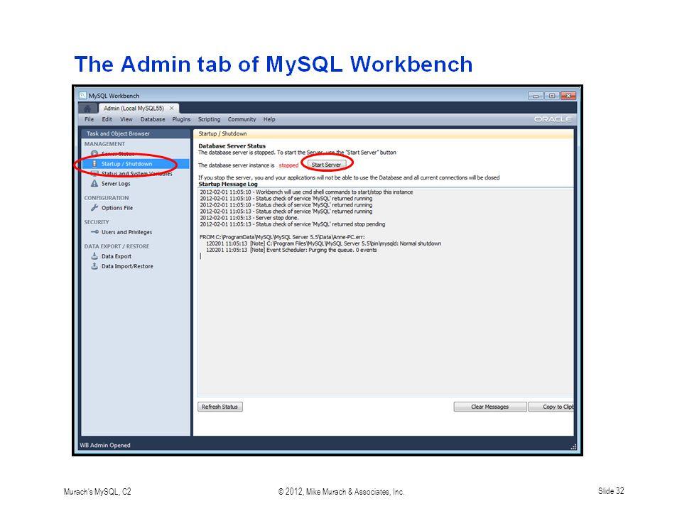Murach s MySQL, C2© 2012, Mike Murach & Associates, Inc.Slide 32