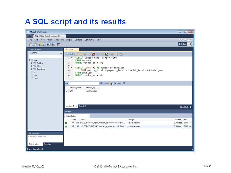 Murach s MySQL, C2© 2012, Mike Murach & Associates, Inc.Slide 41