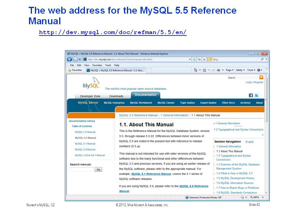 Murach s MySQL, C2© 2012, Mike Murach & Associates, Inc.Slide 42