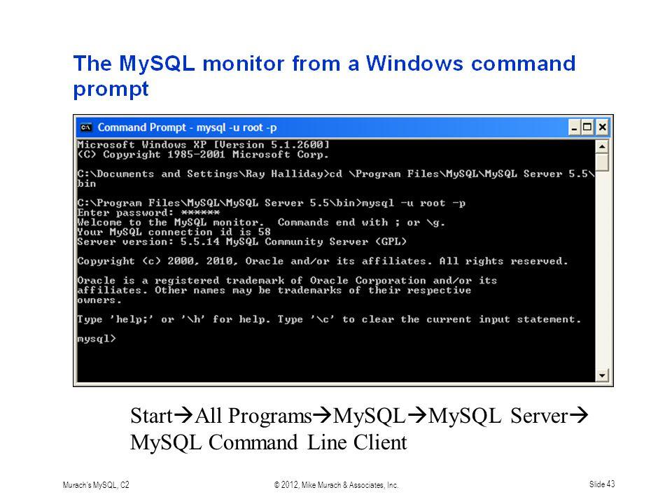 Murach s MySQL, C2© 2012, Mike Murach & Associates, Inc.Slide 43 Start  All Programs  MySQL  MySQL Server  MySQL Command Line Client
