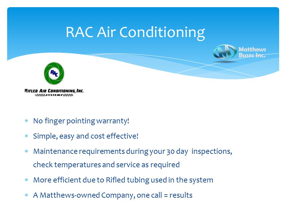 RAC Air Conditioning  No finger pointing warranty.