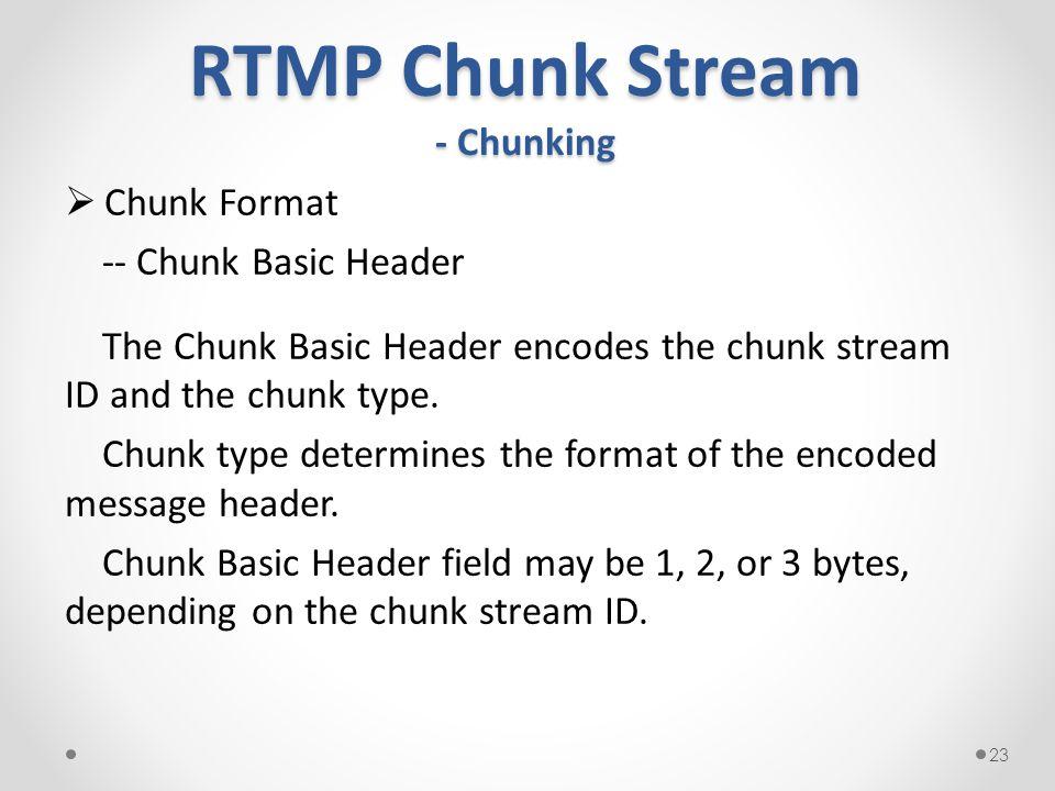 RTMP Chunk Stream - Chunking  Chunk Format -- Chunk Basic Header The Chunk Basic Header encodes the chunk stream ID and the chunk type.