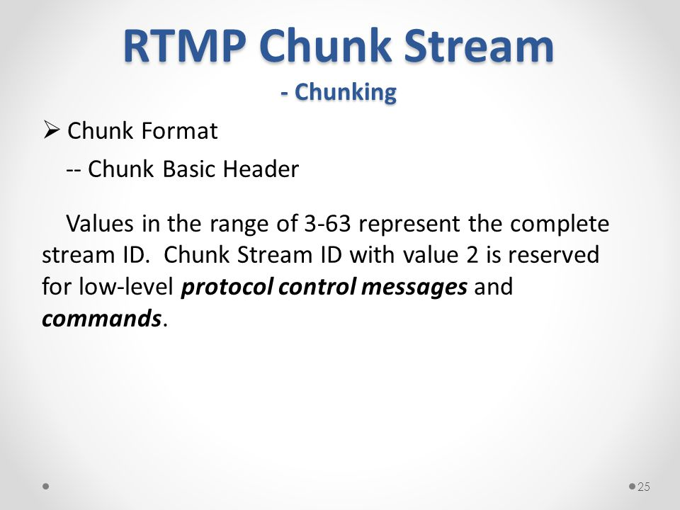 RTMP Chunk Stream - Chunking  Chunk Format -- Chunk Basic Header Values in the range of 3-63 represent the complete stream ID.