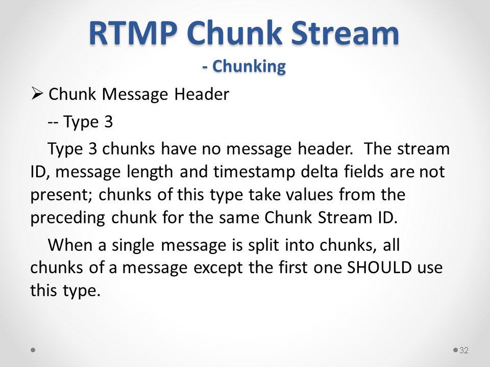 RTMP Chunk Stream - Chunking  Chunk Message Header -- Type 3 Type 3 chunks have no message header.