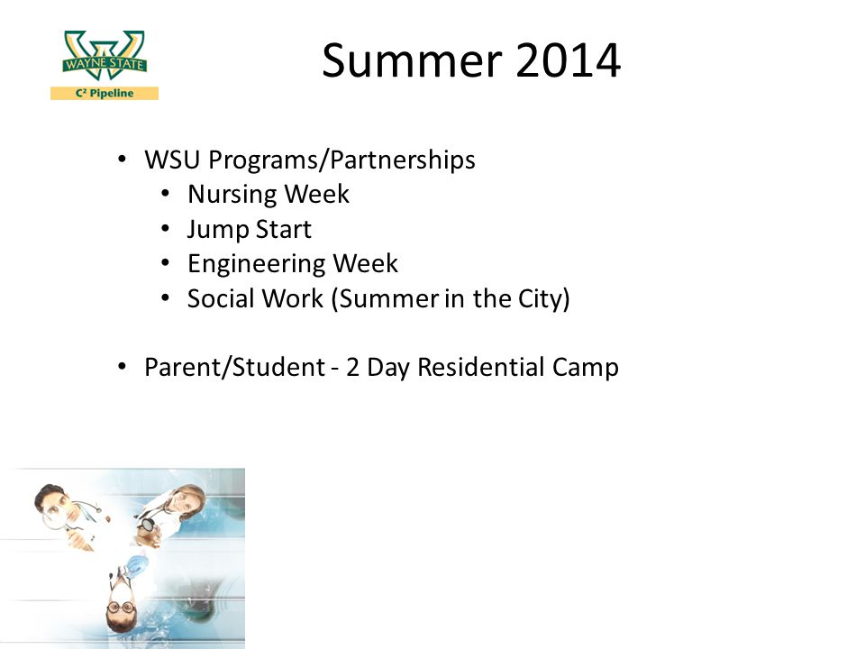 Summer 2014 WSU Programs/Partnerships Nursing Week Jump Start Engineering Week Social Work (Summer in the City) Parent/Student - 2 Day Residential Camp