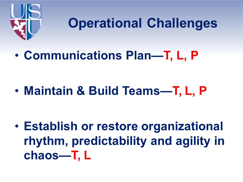 Operational Challenges Communications Plan—T, L, P Maintain & Build Teams—T, L, P Establish or restore organizational rhythm, predictability and agility in chaos—T, L