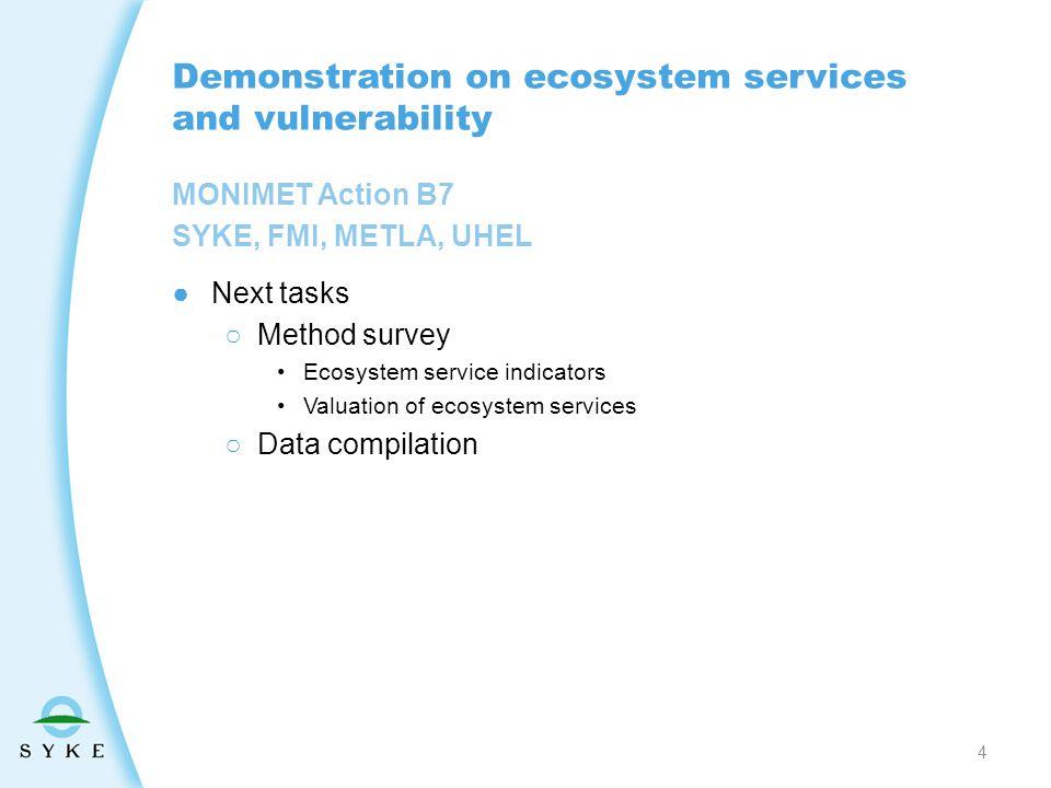 MONIMET Action B7 SYKE, FMI, METLA, UHEL Demonstration on ecosystem services and vulnerability ●Next tasks ○Method survey Ecosystem service indicators