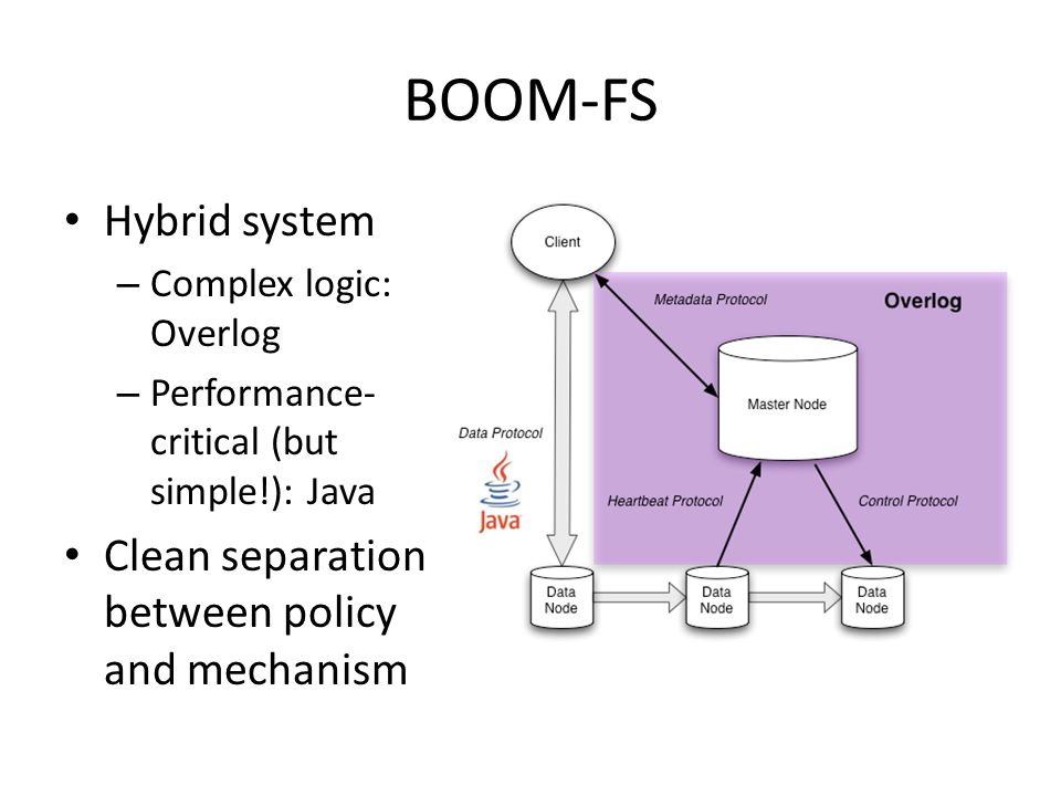 BOOM-FS Hybrid system – Complex logic: Overlog – Performance- critical (but simple!): Java Clean separation between policy and mechanism