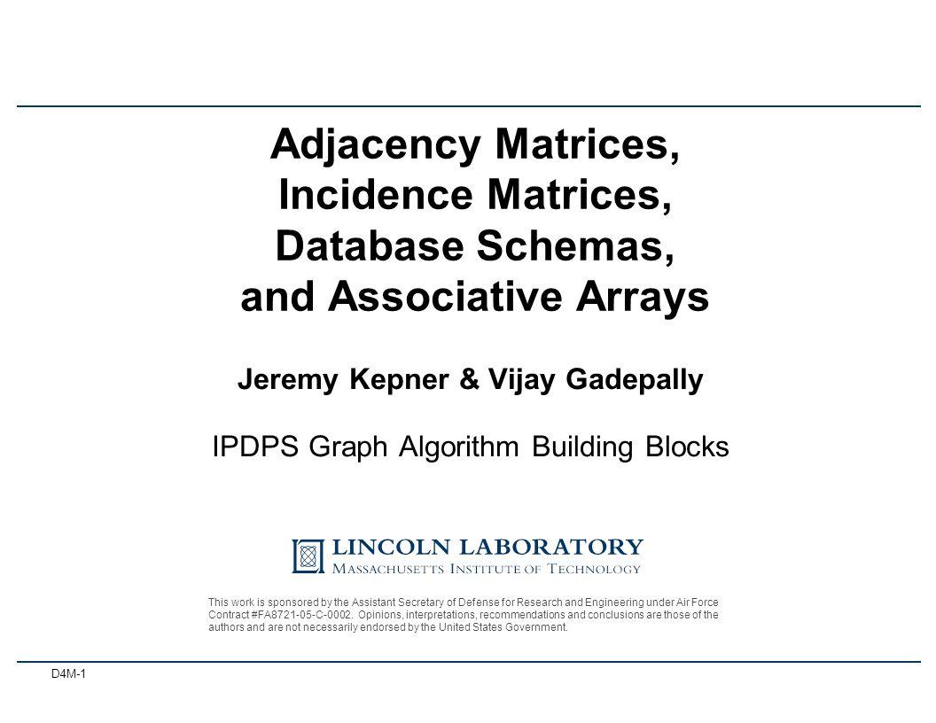D4M-1 Jeremy Kepner & Vijay Gadepally IPDPS Graph Algorithm Building Blocks Adjacency Matrices, Incidence Matrices, Database Schemas, and Associative