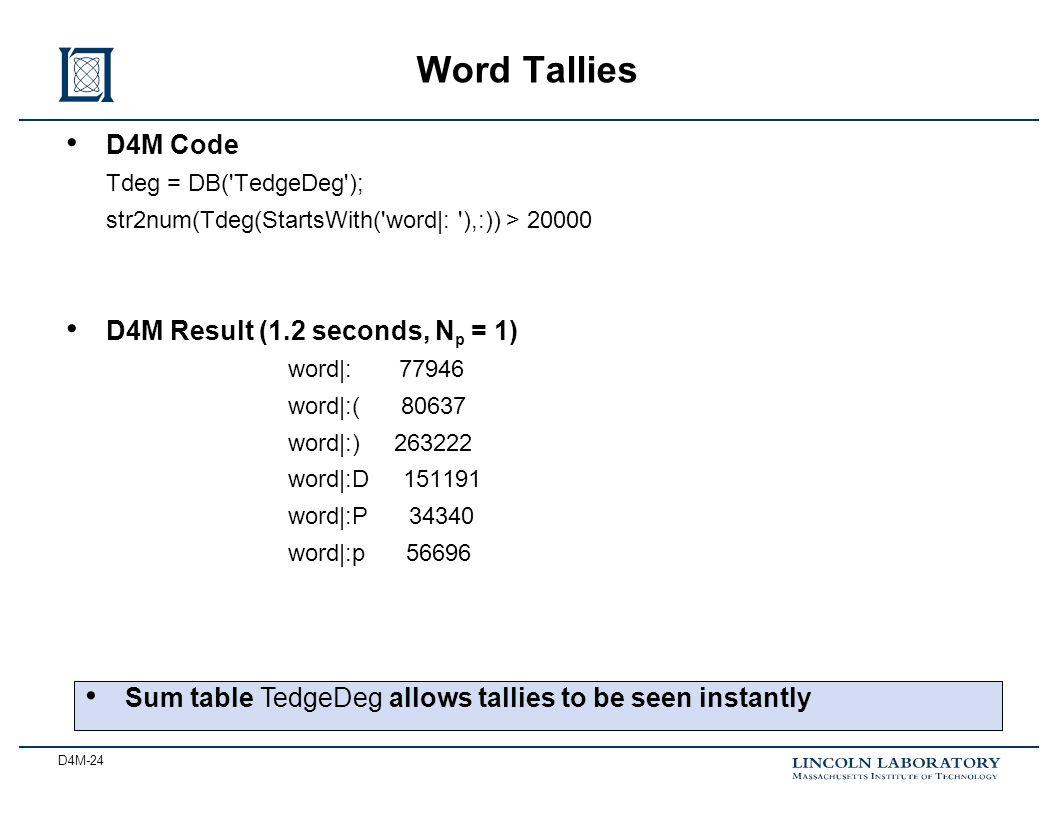 D4M-24 Word Tallies D4M Code Tdeg = DB('TedgeDeg'); str2num(Tdeg(StartsWith('word|: '),:)) > 20000 D4M Result (1.2 seconds, N p = 1) word|: 77946 word