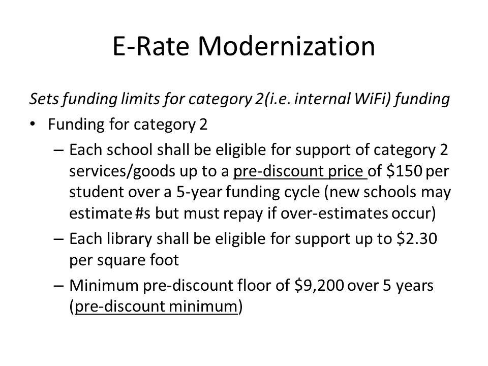 E-Rate Modernization Sets funding limits for category 2(i.e.