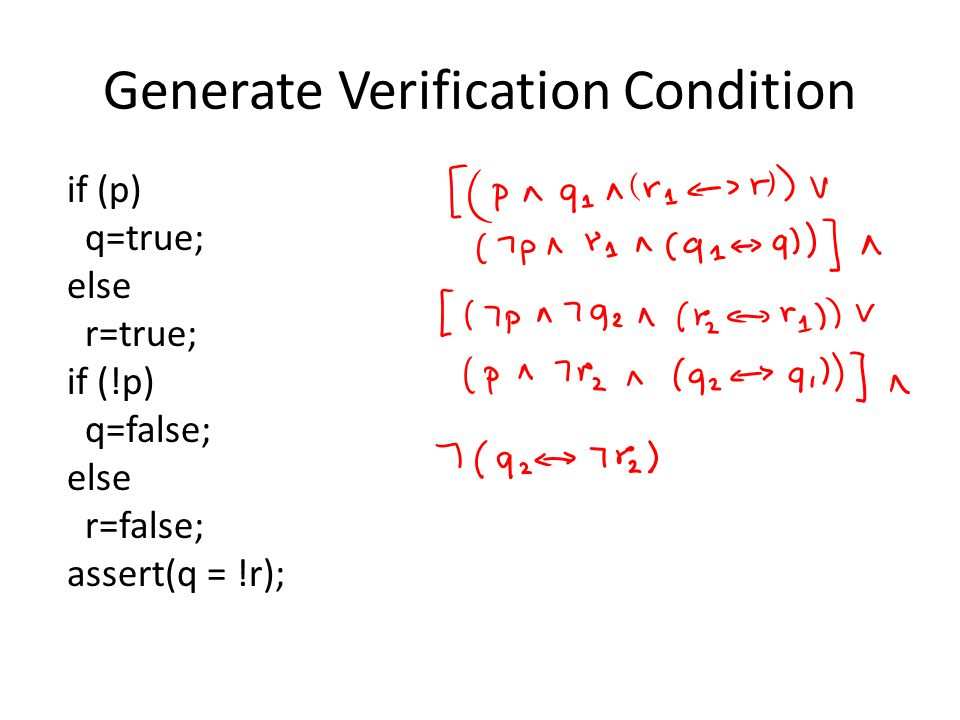 Generate Verification Condition if (p) q=true; else r=true; if (!p) q=false; else r=false; assert(q = !r);