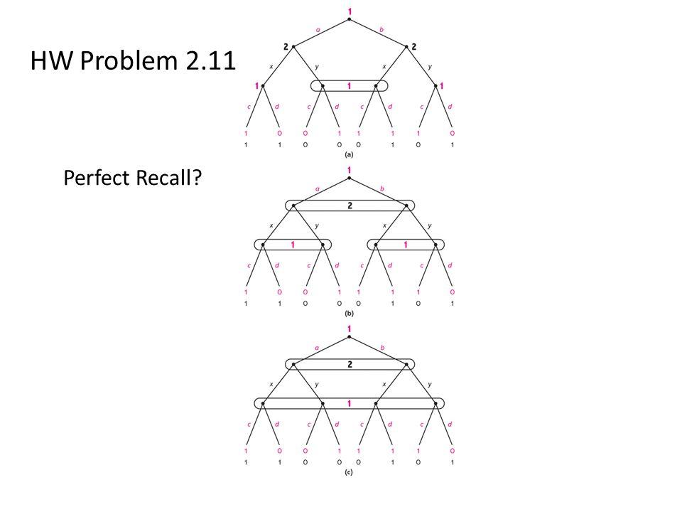 HW Problem 2.11 Perfect Recall?