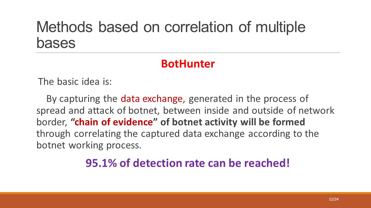 Methods based on correlation of multiple bases BotHunter The basic idea is: By capturing the data exchange, generated in the process of spread and att
