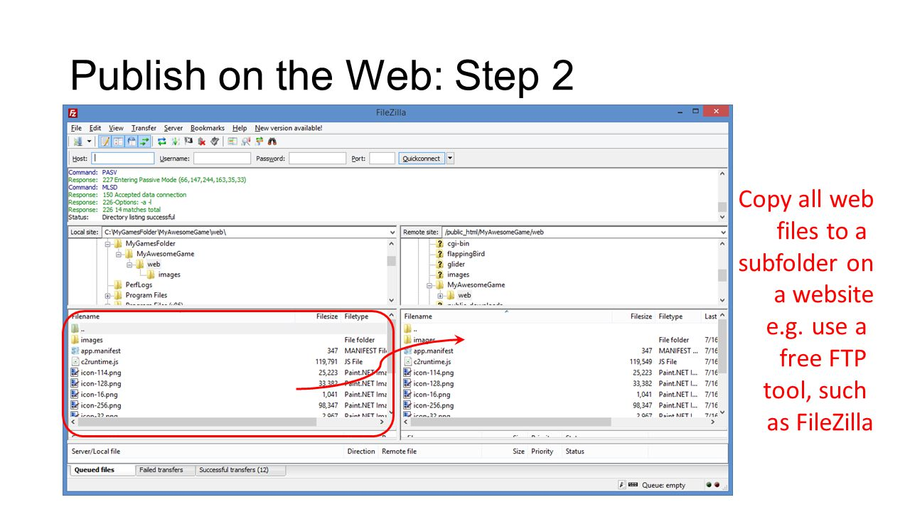 Publish on the Web: Step 2 Copy all web files to a subfolder on a website e.g.