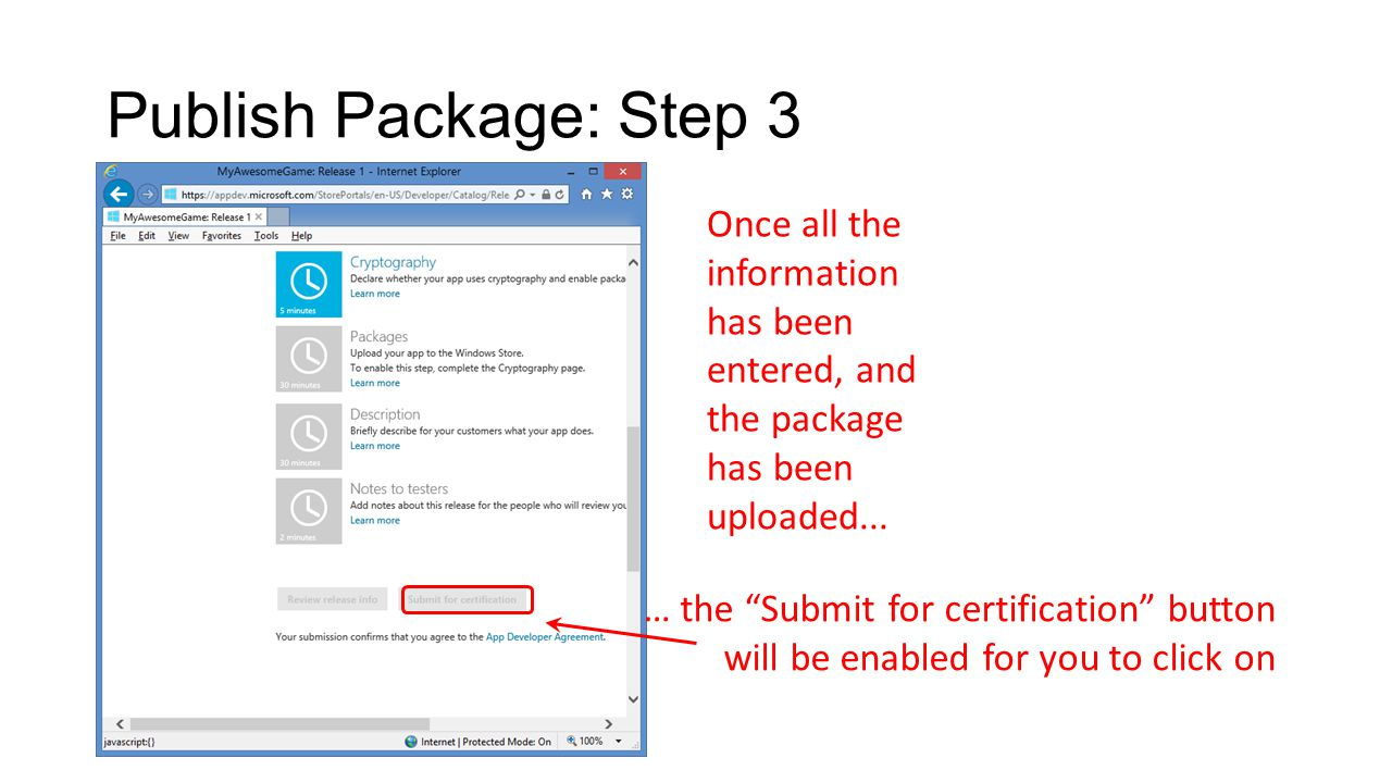 Publish Package: Step 3 Once all the information has been entered, and the package has been uploaded...