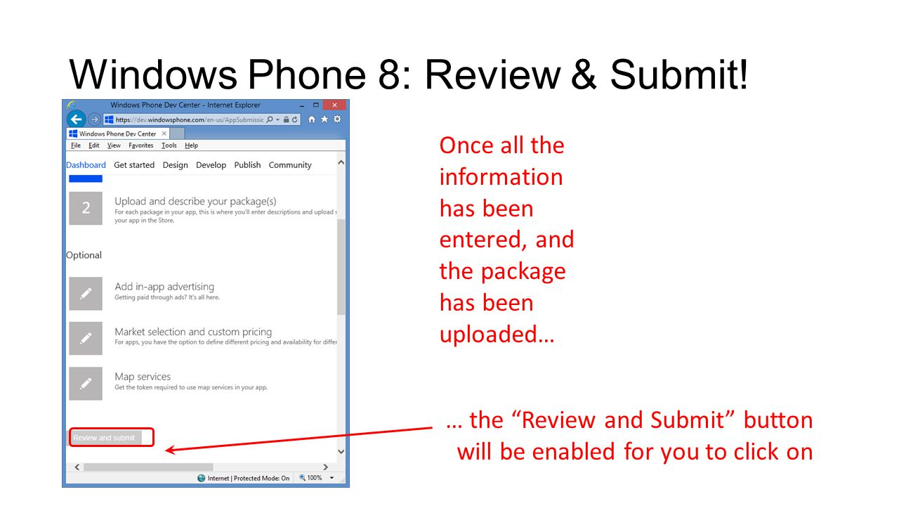 Windows Phone 8: Review & Submit.