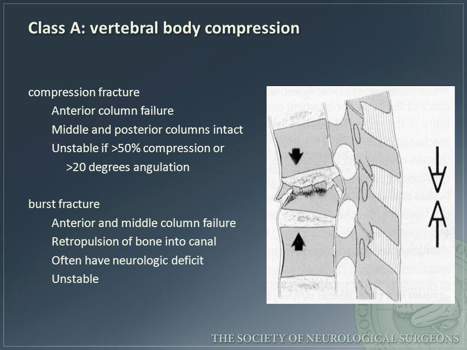 Class A: vertebral body compression compression fracture Anterior column failure Middle and posterior columns intact Unstable if >50% compression or >